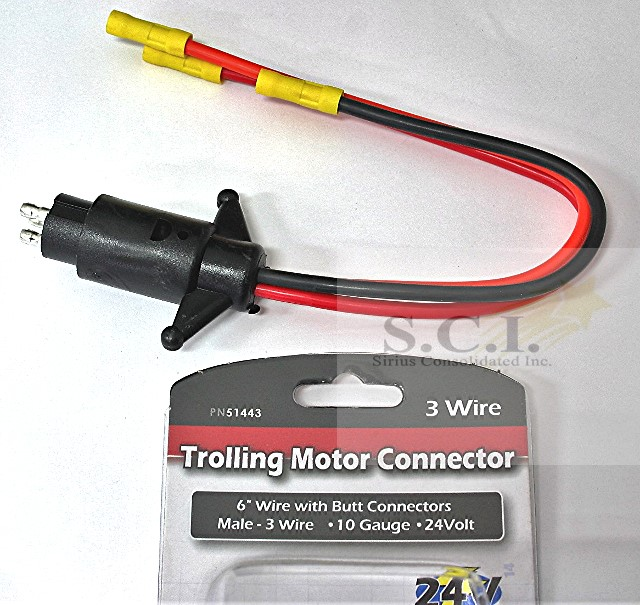 Boater Sports Trolling Motor Connector 24 Volt 3 Wire Male Manual Guide