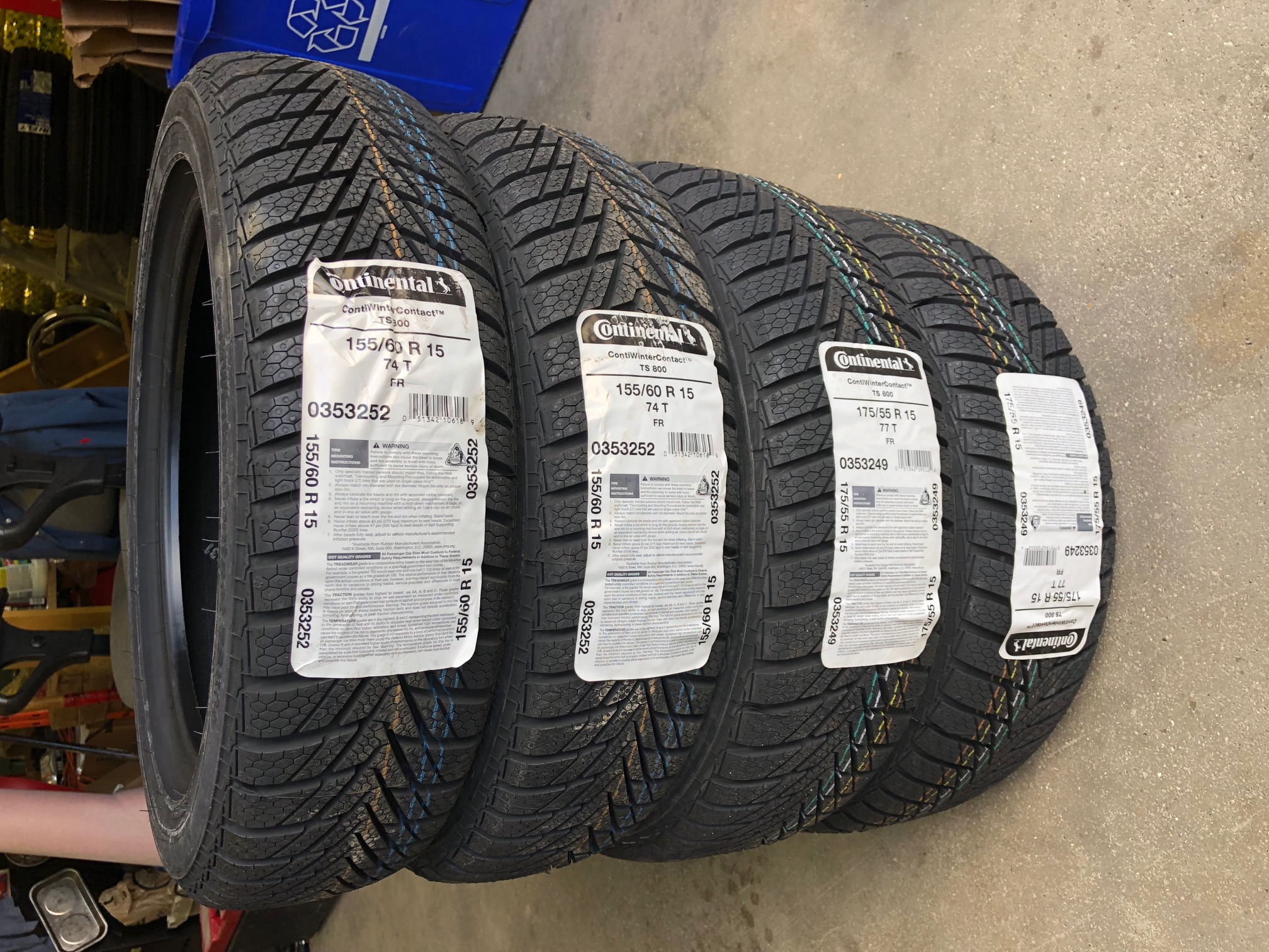 ContiWinterContact TS800 Studless Ice & Snow winter SET OF 4  2 x 155/60R-15  2 x 175/55RR-15