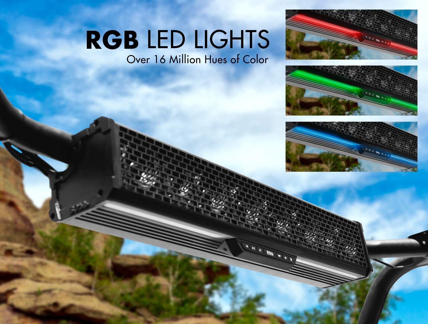 """BOSS Audio BRT27A 27"""" Sound Bar Audio System – Bluetooth Weatherproof Built-in Amplifier for Use with ATV/UTV/SideXSide Featuring RGB Lights"""