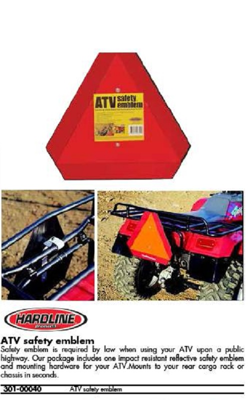 ATV SLOW MOVING VEHICLE SAFETY SIGN TRIANGLE