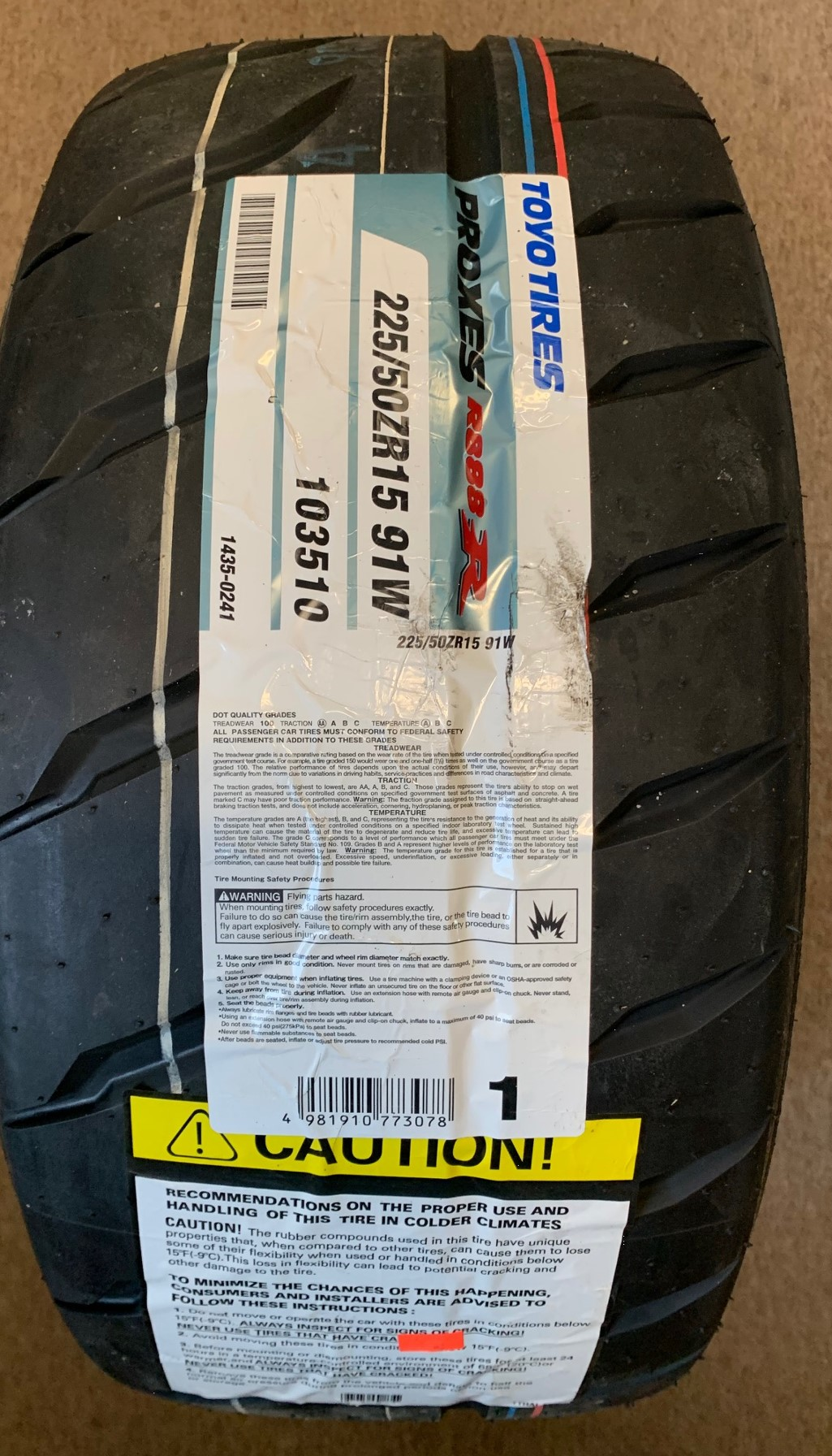 CAN-AM CAN AM CANAM BRP SPYDER TOYO MOTOSPORTS PROXES EXTRA LOAD REAR 225/50-ZR15 91V Tire