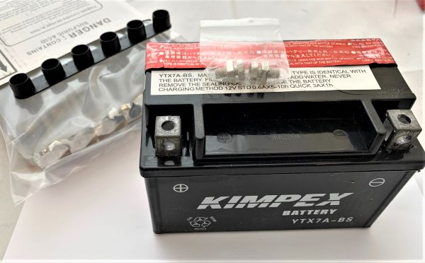 KIMPEX YTX7A-BS MAINTENANCE FREE BATTERY WITH ACID PACK