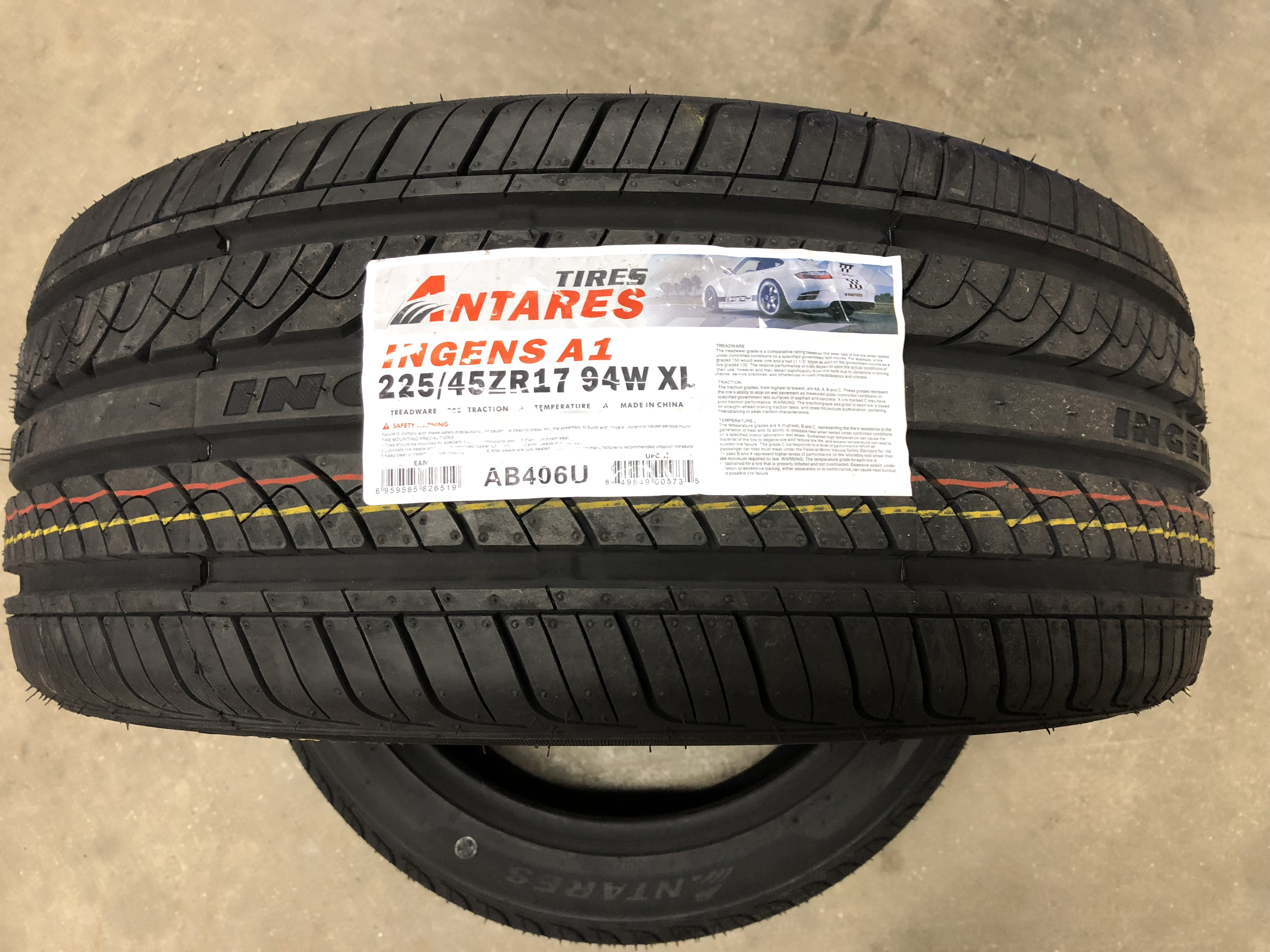 ANTARES INGENS 225/45-17 CAR TIRE - SOLD EACH